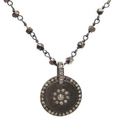 Diamond Circular Pendant on Sterling Silver Oxidized Chain