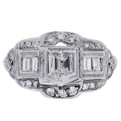 1.00 Carats GIA Cert Diamonds Platinum Ring