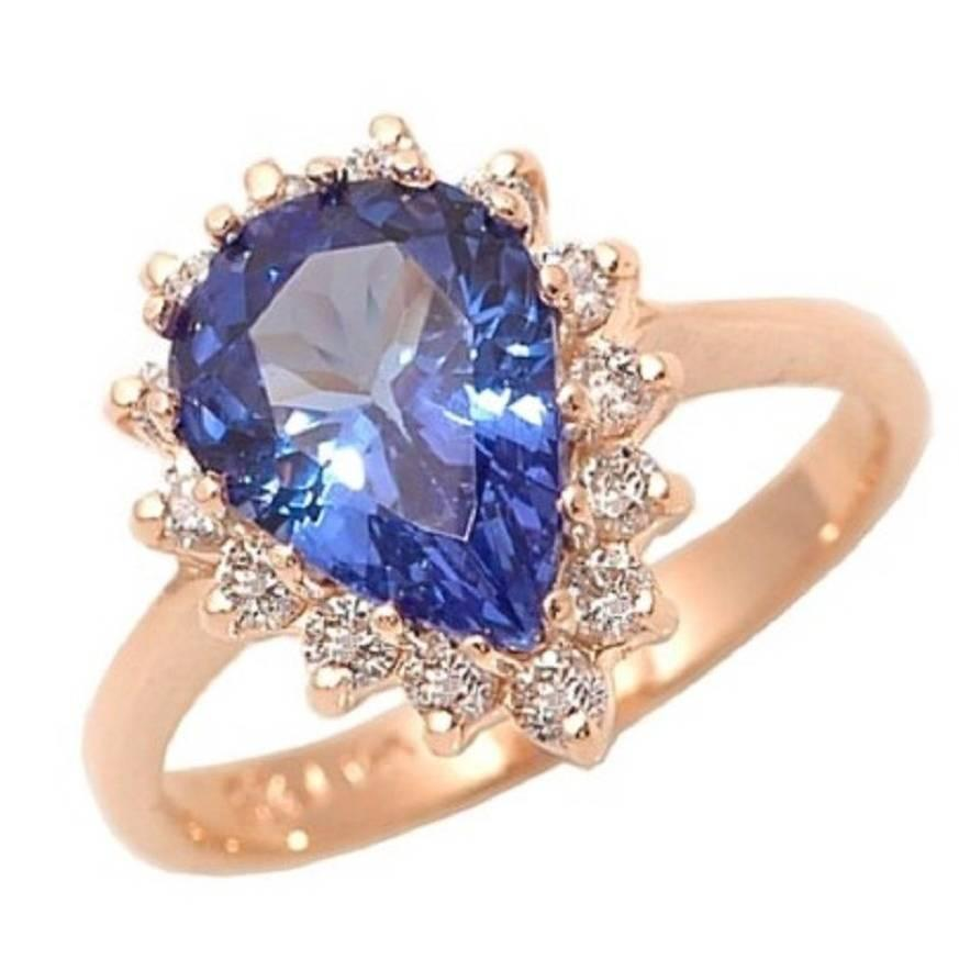 pear shape tanzanite diamond gold engagement ring for sale at 1stdibs. Black Bedroom Furniture Sets. Home Design Ideas