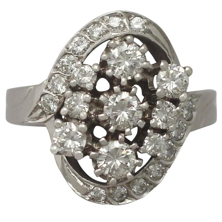 1950s 1.76 Carat Diamond and White Gold Cocktail Ring