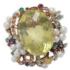 1973 Luise Topaz Pearl Multi Gem Diamond Gold Cluster Ring