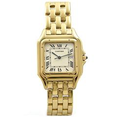 Cartier Yellow Gold White Dial Large Panthere Wristwatch