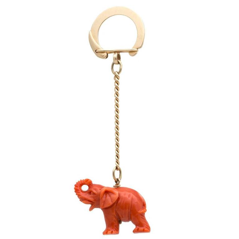 Cartier Coral Gold Elephant Keychain