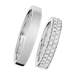 Renesim Pave Diamond Platinum Wedding Rings
