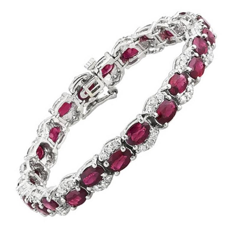 Oval Shape Burmese Ruby and Diamond Tennis Bracelet 25.74 Carat