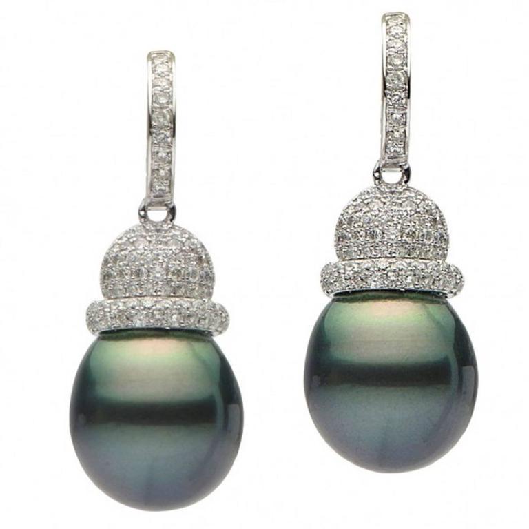 Tahitian Pearl Diamond Gold Drop Earrings For Sale