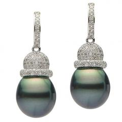 Tahitian Pearl Diamond Gold Drop Earrings