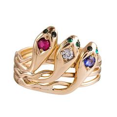 Victorian Gemstone Gold Three Snake Ring
