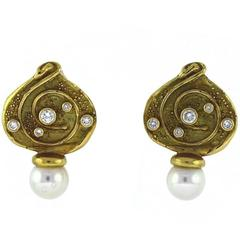 Elizabeth Gage Diamond, Pearl, and Gold Earrings