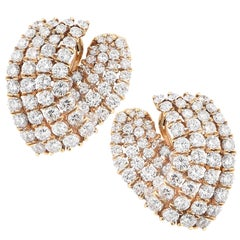 11 Carat Diamond V Shaped Yellow Gold Ear Clips
