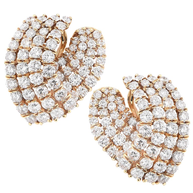 11 Carat Diamond V Shaped Yellow Gold Ear Clips