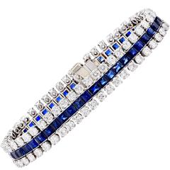 9 Carat Diamond Sapphire Three Row White Gold Bracelet