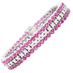 10 Carat Ruby Diamond White Gold Bracelet