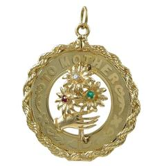 Large Gold Gemset Mother Charm
