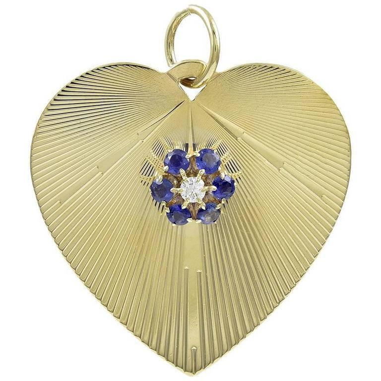 Large Tiffany & Co. Gold Sapphire Diamond Charm Pendant