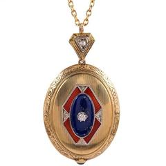American Art Deco Enamel Lapis Diamonds gold Pendant