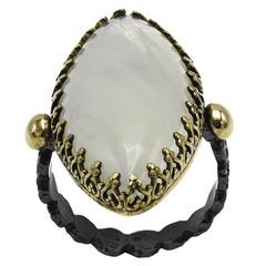 Large Marquise Moonstone Ring Set in Oxidized Sterling Silver and Gold