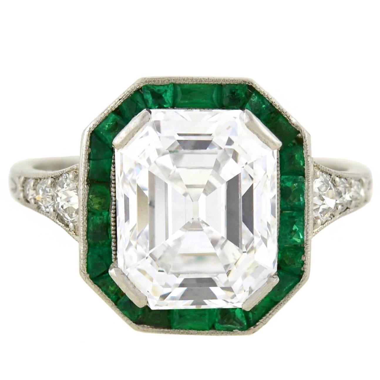 art deco colorless 3.63 carat emerald cut diamond engagement ring