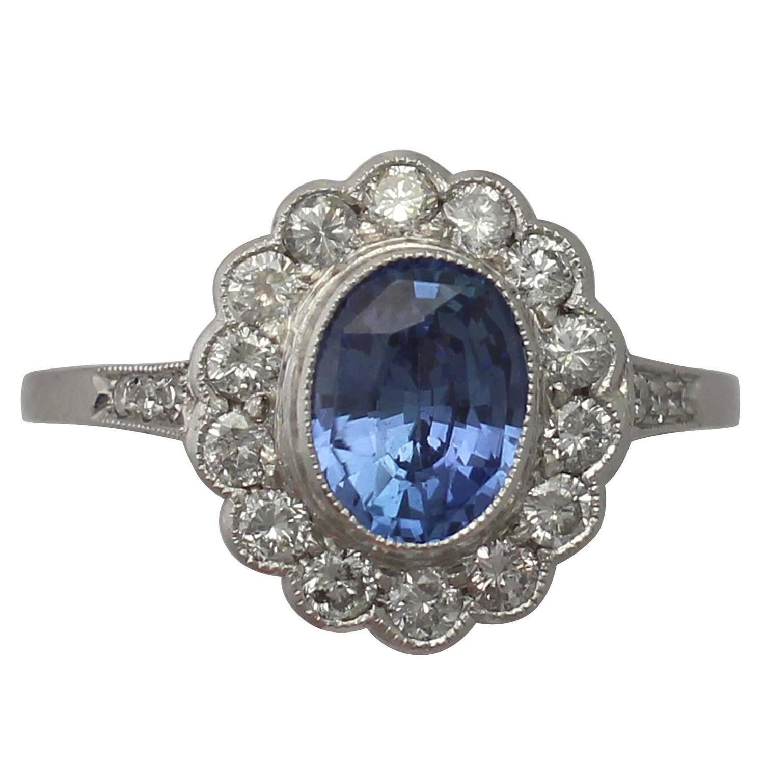 Vintage 1960s 1 29 Ct Sapphire and 0 56 Ct Diamond Platinum Dress Ring For S