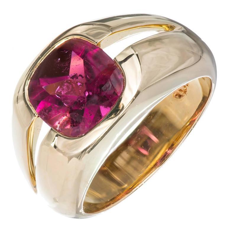 Tiffany & Co. Cushion Pink Tourmaline Gold Ring