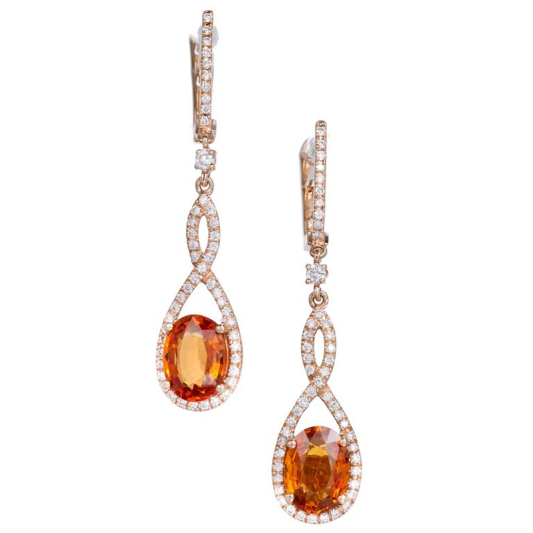 Orange Oval Spessartite Garnet Diamond Gold Dangle Earrings