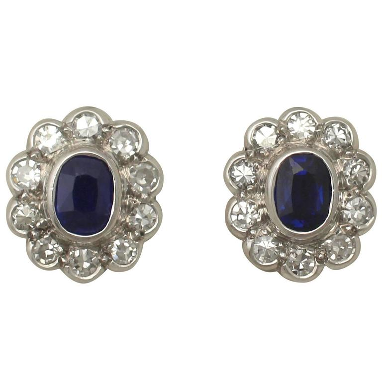 Antique 1920s 0.84Ct Sapphire Diamond 18k Gold Stud Earrings  For Sale