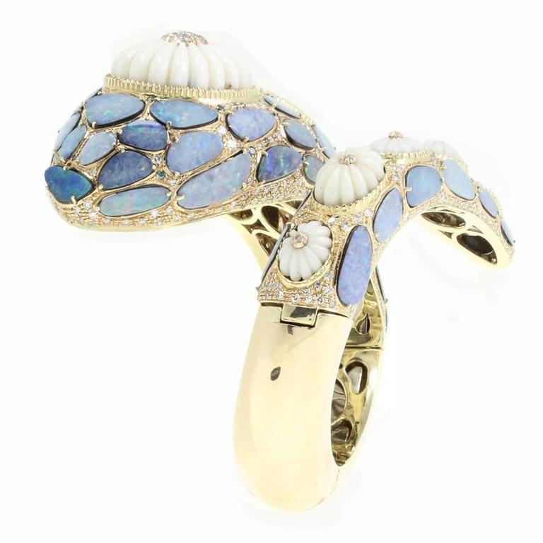 Opal Coral Diamond Gold Snake Bracelet