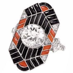 Onyx Diamond Coral Platinum Jazz Design Ring