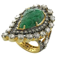 Paisley Shaped Carved Emerald Diamond Gold Ring
