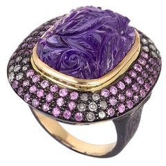 Carved Amethyst Cocktail Ring