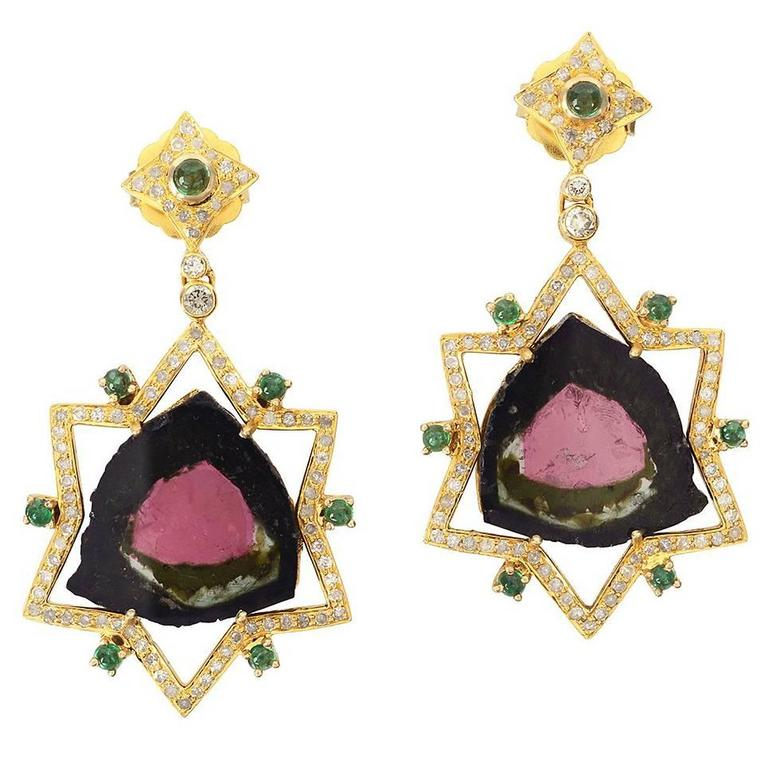 Watermelon Tourmaline Earring with Diamonds and Emerald