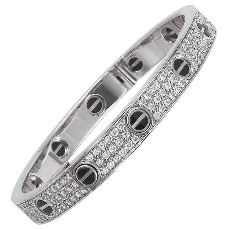 Cartier Diamond Ceramic LOVE Bangle For Sale