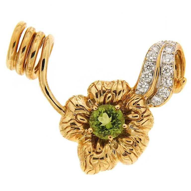 Peridot Flower and Diamond Slider Pendant