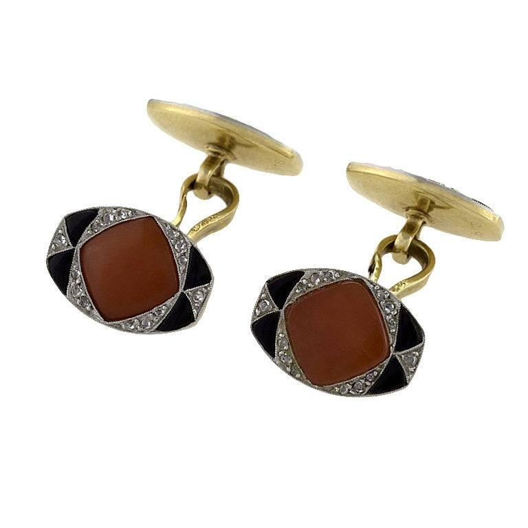 French 1920s Art Deco Onyx Coral Diamond and Gold Cuff Links For Sale