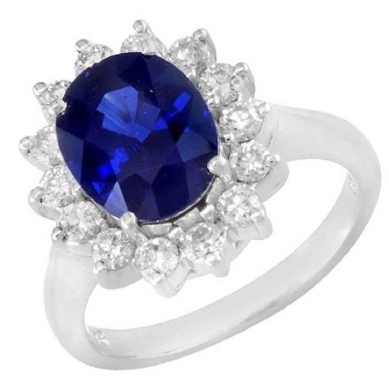 3.31 Carat Oval Sapphire Diamond Gold Ring