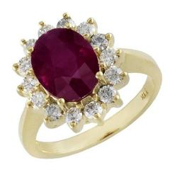 3.02 Carat Oval Ruby Diamond Gold Ring