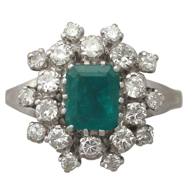 1950s 1 24 Carat Emerald And 1 15 Carat Diamondring For Sale