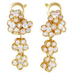 Van Cleef & Arpels Diamond Gold Flower Drop Earrings