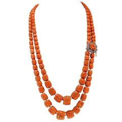 Mediterranean Coral Gold and Silver Necklace