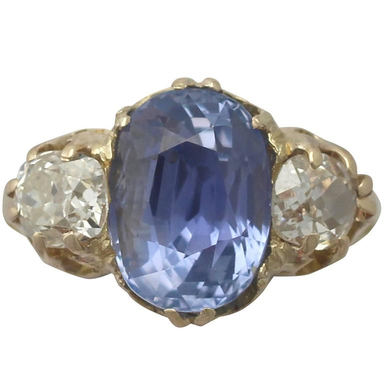 antique 4 76 carat sapphire 1 05 carat yellow gold