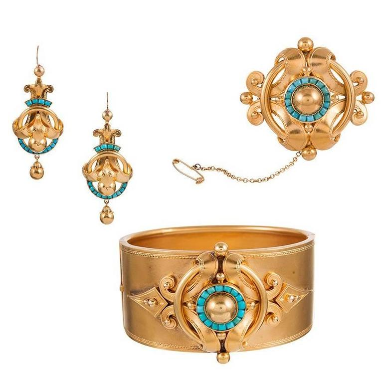 Victorian Turquoise Gold Bracelet Brooch and Earrings Suite in Original Box