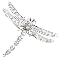Tiffany & Co. Enchant Sapphire Diamond Platinum Dragonfly Brooch Pendant