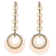 Vintage Silver Diamond and Rose Quartz Pendant Earrings