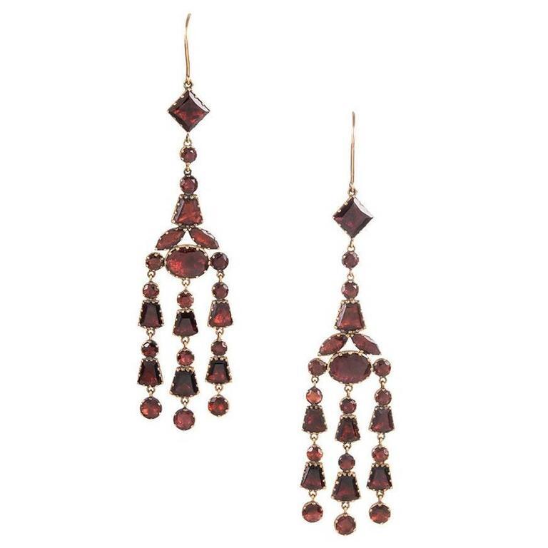 Georgian Garnet Gold Chandelier Earrings For Sale