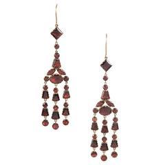 Georgian Garnet Gold Chandelier Earrings