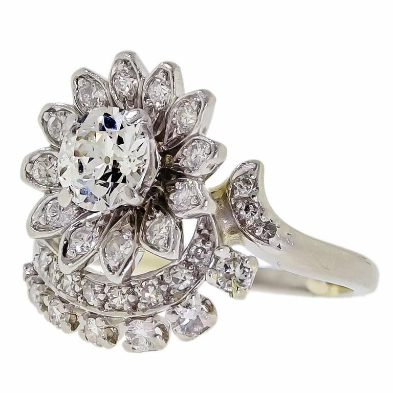 Vintage Diamond Platinum Cluster Cocktail Ring For Sale At