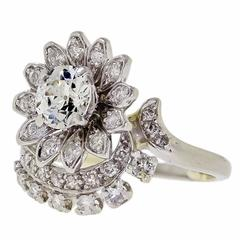 Vintage Diamond Platinum Cluster Cocktail Ring