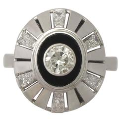1950's Black Onyx 1.68 Carat Diamond White Gold Cocktail Ring