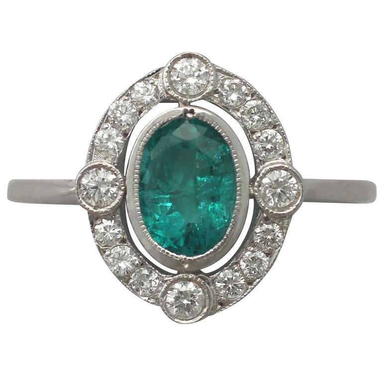 1940s Emerald and Diamond White Gold Cocktail Ring