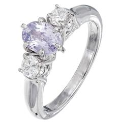 Natalie K Natural Purple Pink Sapphire Diamond Platinum Engagement Ring